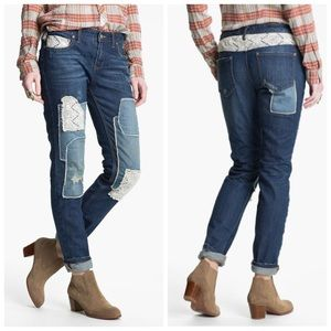 Free People Lace Patchwork Jeans